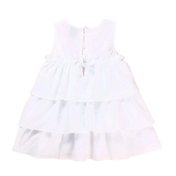Image de Vestido de bebé niña en blanco con volantes