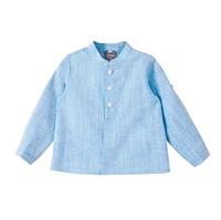 Imagen de Camisa de bebé niño en azul jaspeado y manga larga