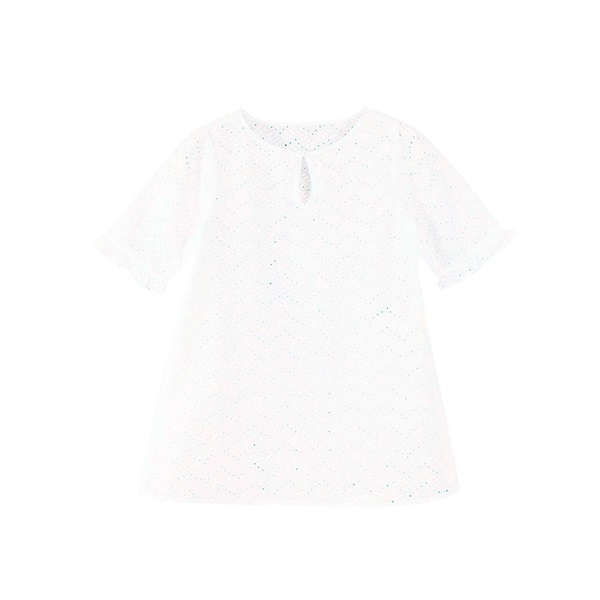 Picture of Kaftan de niña en blanco perforado