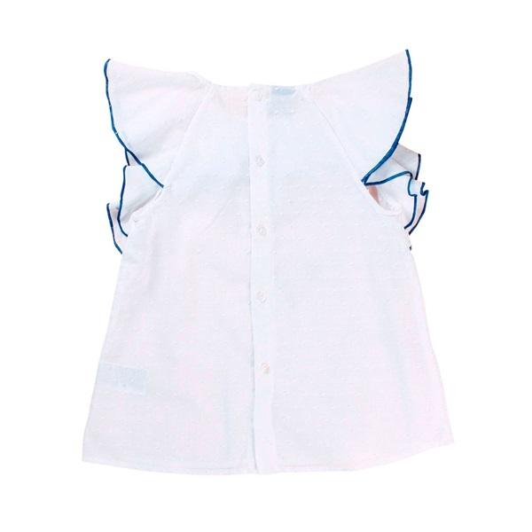 Image de Blusa de niña en blanco con volante ribeteado