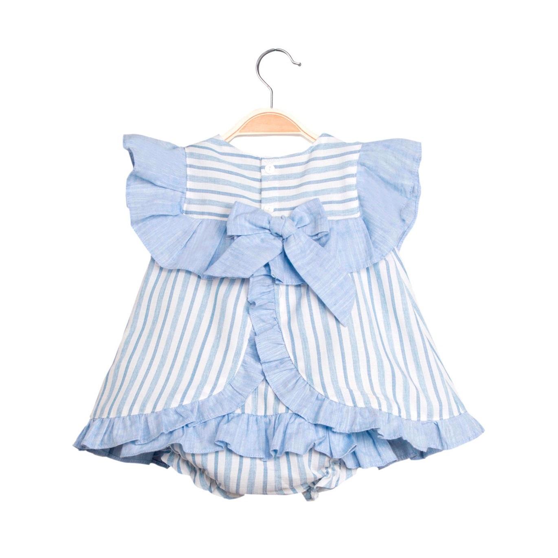 estilo de moda de 2019 tienda de liquidación profesional Vestido de bebé niña de rayas con braguita. Dadati Profesionales