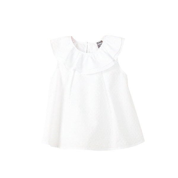 Imagen de Blusa de bebé niña plumeti en blanco