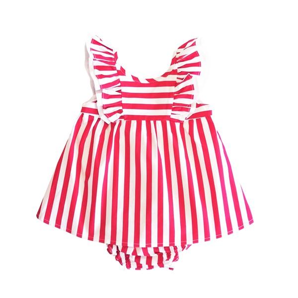 Image de Vestido de bebé niña de rayas rojas con volantes