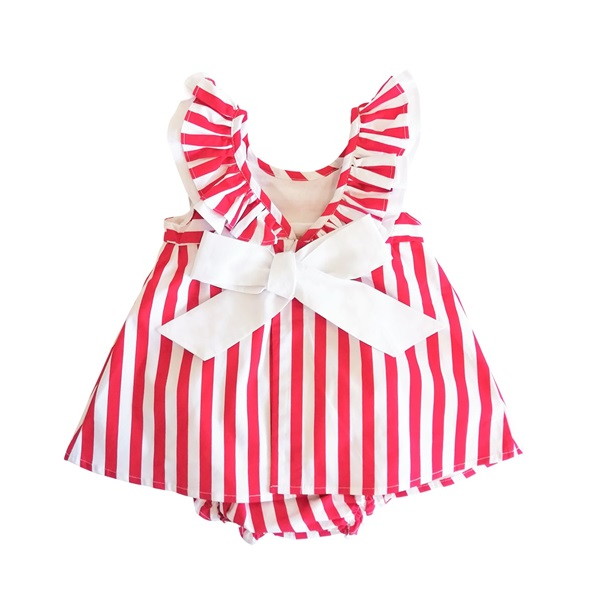 Imagen de Vestido de bebé niña de rayas rojas con volantes