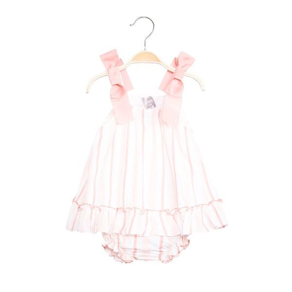 Image de Vestido de bebé niña de rayas rosa con braguita
