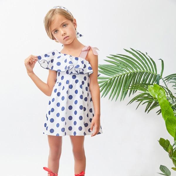 Picture of Vestido de niña de lunares con volante