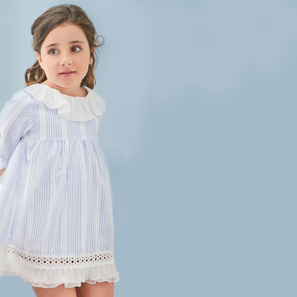 Image de Vestido de niña de rayas con volante plisado