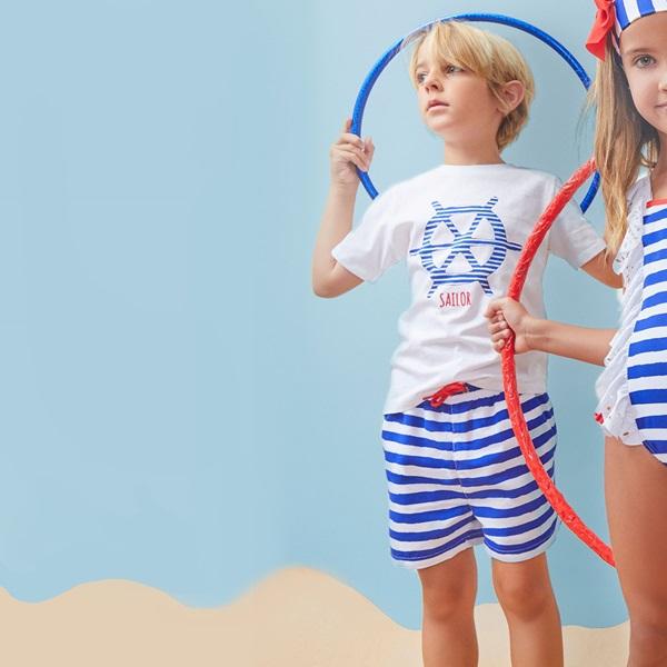 Picture of Bañador de niño de rayas marineras tipo bermuda