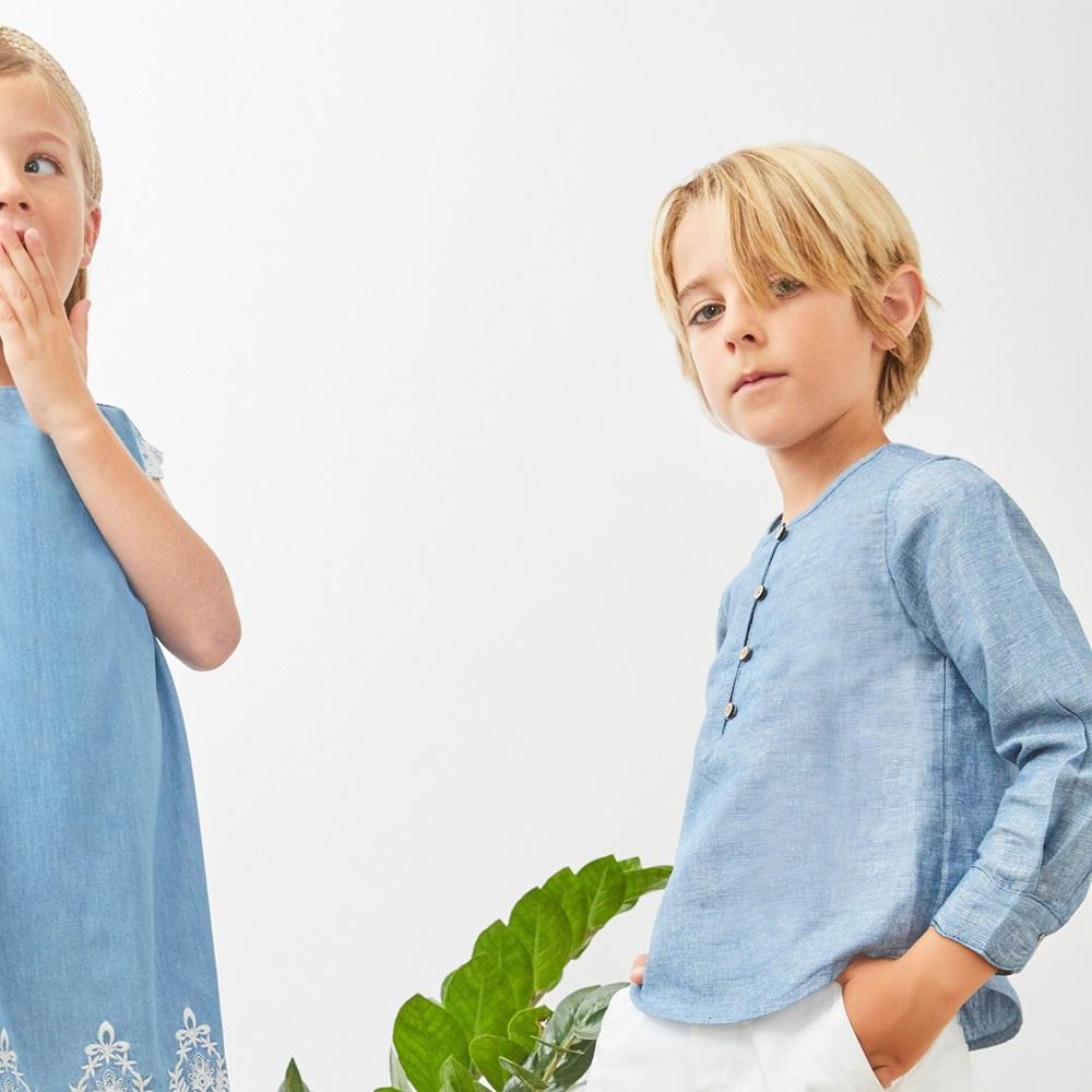 Image de Camisa de niño en azul jaspeado y manga larga