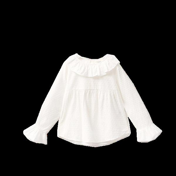 Image de camisa de plumeti blanco con cuello volante