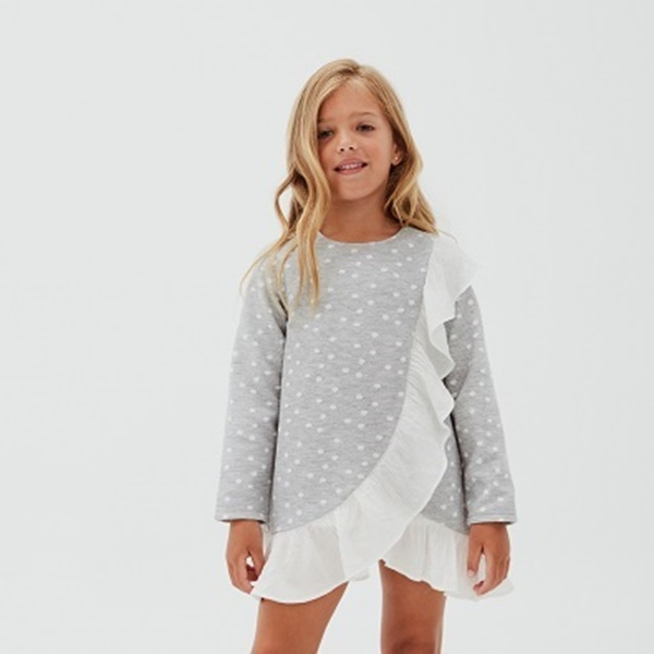 Imagen de Vestido junior niña gris topos