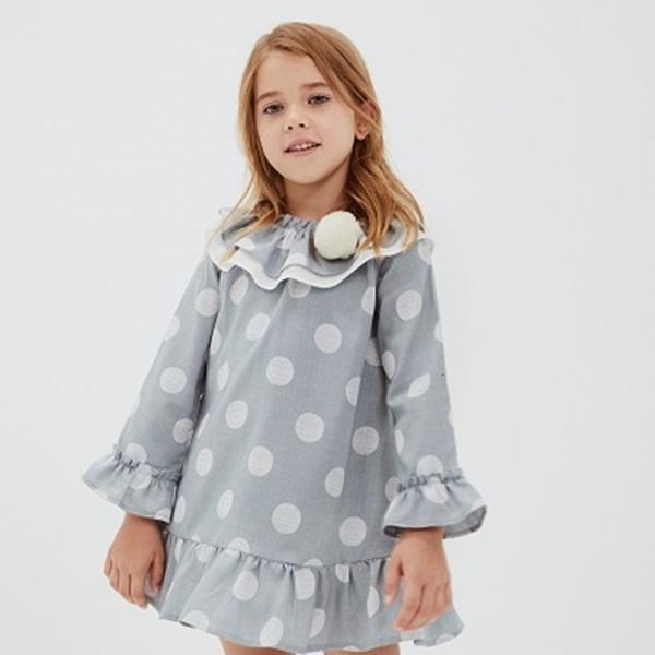 Image de Vestido junior niña lunares verde agua