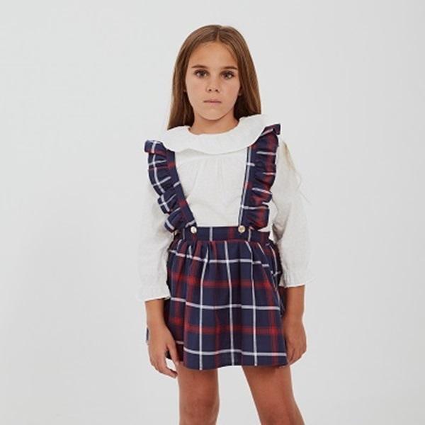 Image de Falda con tirantes cuadros azules