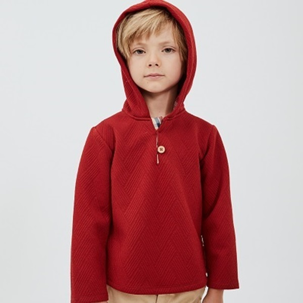 Picture of Sudadera junior granate capucha cuadros