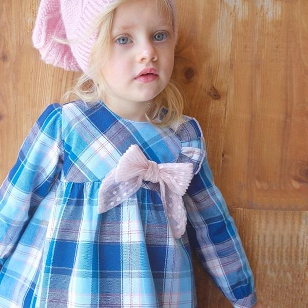 Image de vestido de cuadros turquesa-rosa