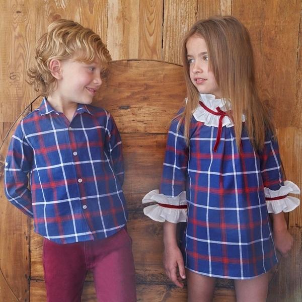 Image de Vestido junior cuadros azules marsella