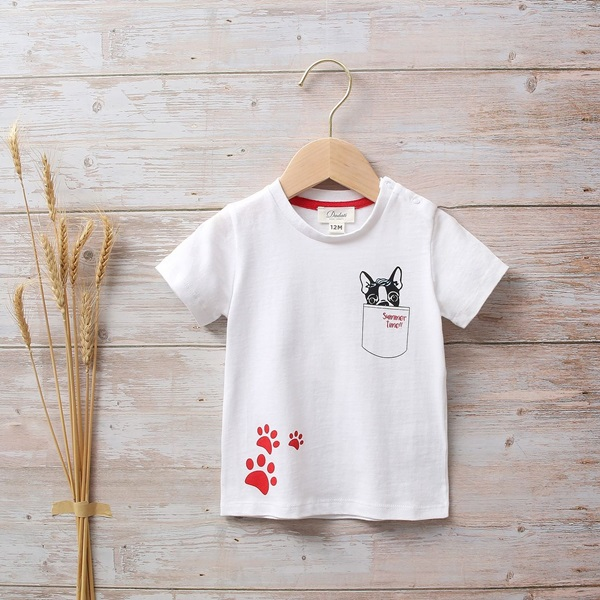 Picture of CAMISETA BEBÉ BLANCA CON  ESTAMPADO DE PERRITOS Y HUELLAS