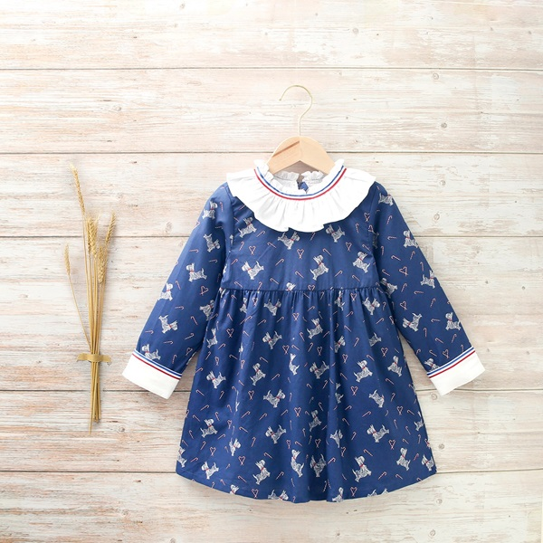 Picture of VESTIDO NIÑA AZUL CON ESTAMPADO DE PERRITOS