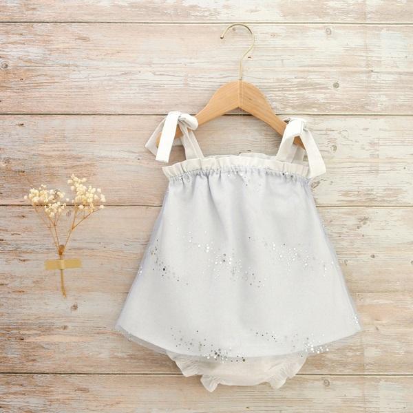 Imagen de vestido bebé ceremonia galaxia cuerpo tul azul con lentejuelas plateadas