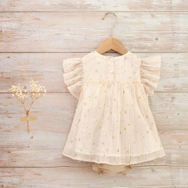 Imagen de Vestido bebé Romance ceremonia gasa plisada estrellas doradas