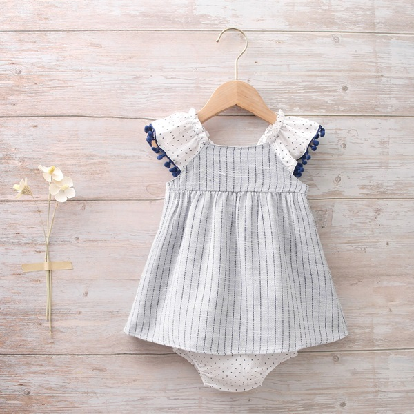 Imagen de vestido bebé porcelana tirantes con bolitas azules