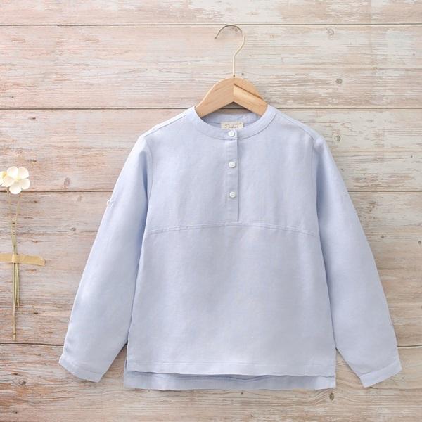 Imagen de Camisa niño con cuello mao azul