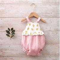 Imagen de Ranita bebé tirantes rosa bambula combinacion estampados limones