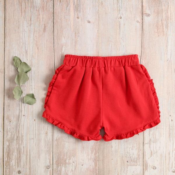 Imagen de Short niña rojo algodón con volantitos