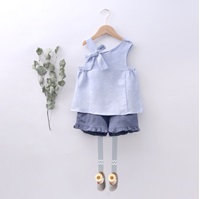 Imagen de short niña lino azul petroleo