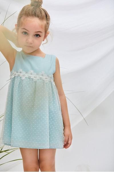 Imagen de Vestido bebé freesia ceremonia verde con tul