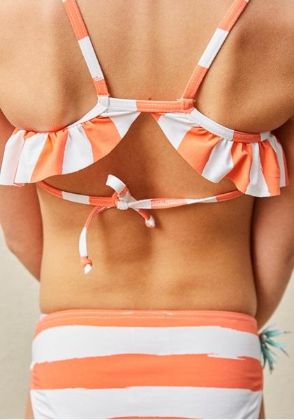 Imagen de Bikini lycra rayas coral ananas estampado glitter piña