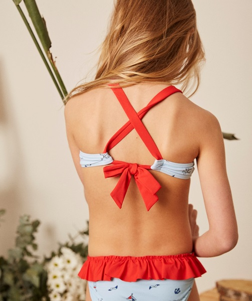 Imagen de Bikini niña con estampado pirata azul y rojo
