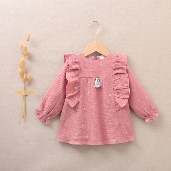 Imagen de Vestido de bebé niña rosa con estrellas plateadas
