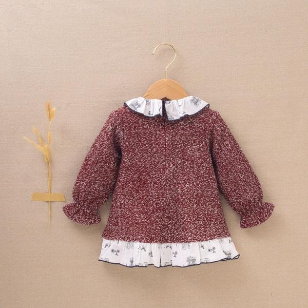 Imagen de Vestido de bebé niña punto tweed granate con volantes  y estampado París