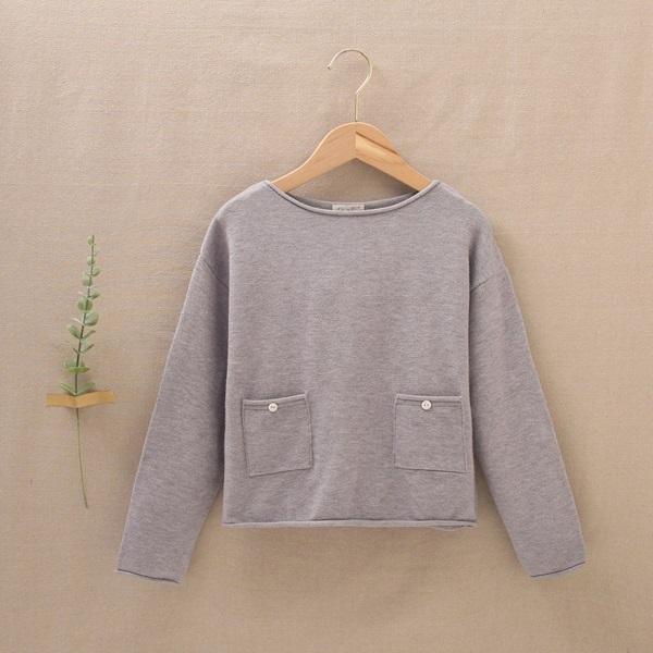 Imagen de Jersey gris de teen con bolsillos de punto suave