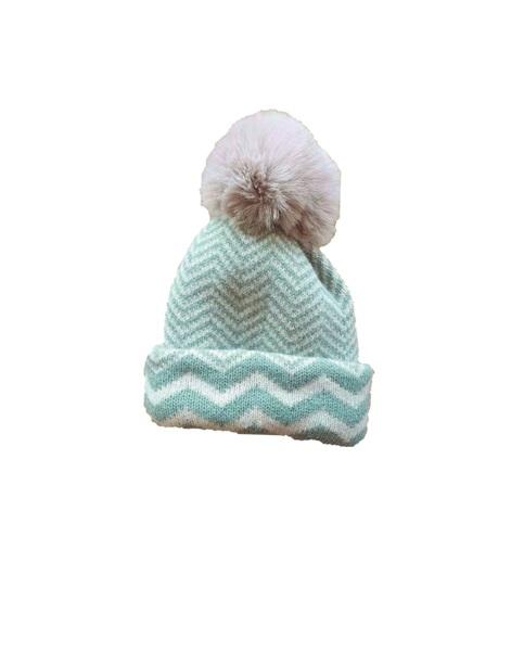 Imagen de Gorro azul reconvertible en bufanda de punto jaquard zig-zag con pompon de pelo