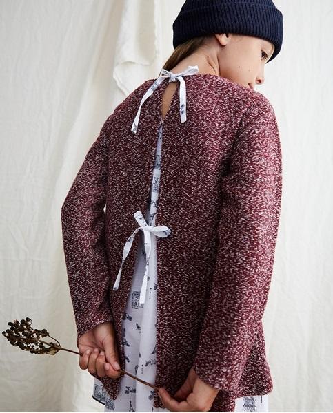 Imagen de Vestido de niña punto tweed granate con bolsillos y estampado París