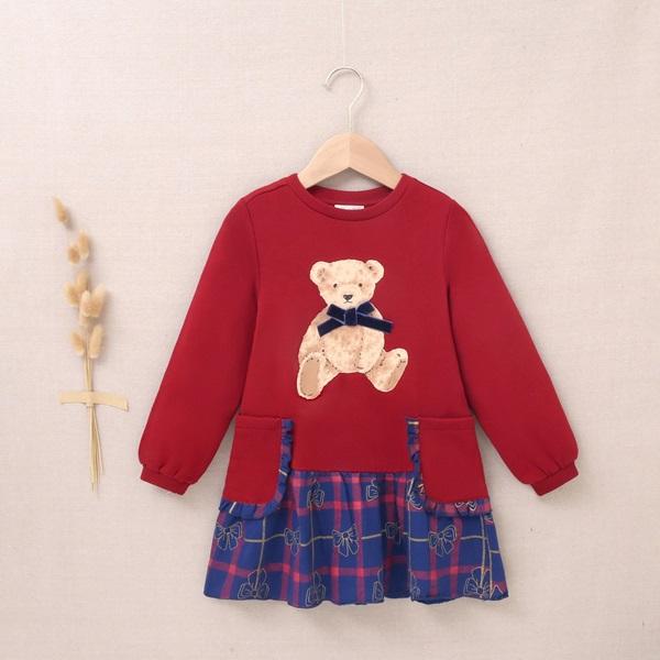 Imagen de Vestido de niña felpa granate estampado oso