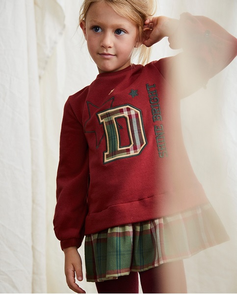 Imagen de Vestido de niña felpa granate con bajo cuadros escoceses